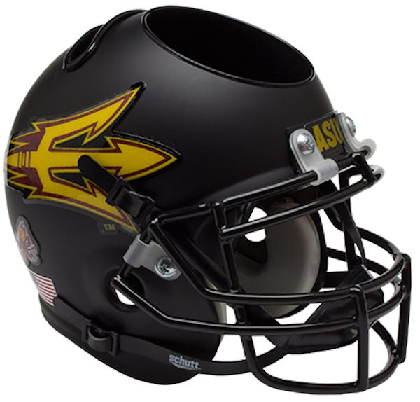 Arizona State Sun Devils Miniature Football Helmet Desk Caddy <B>Matte Black</B>