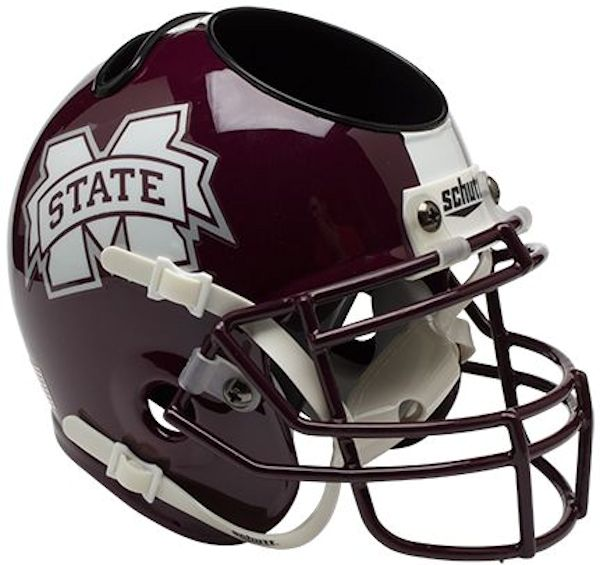 Mississippi State Bulldogs Miniature Football Helmet Desk Caddy <B>Matte</B>