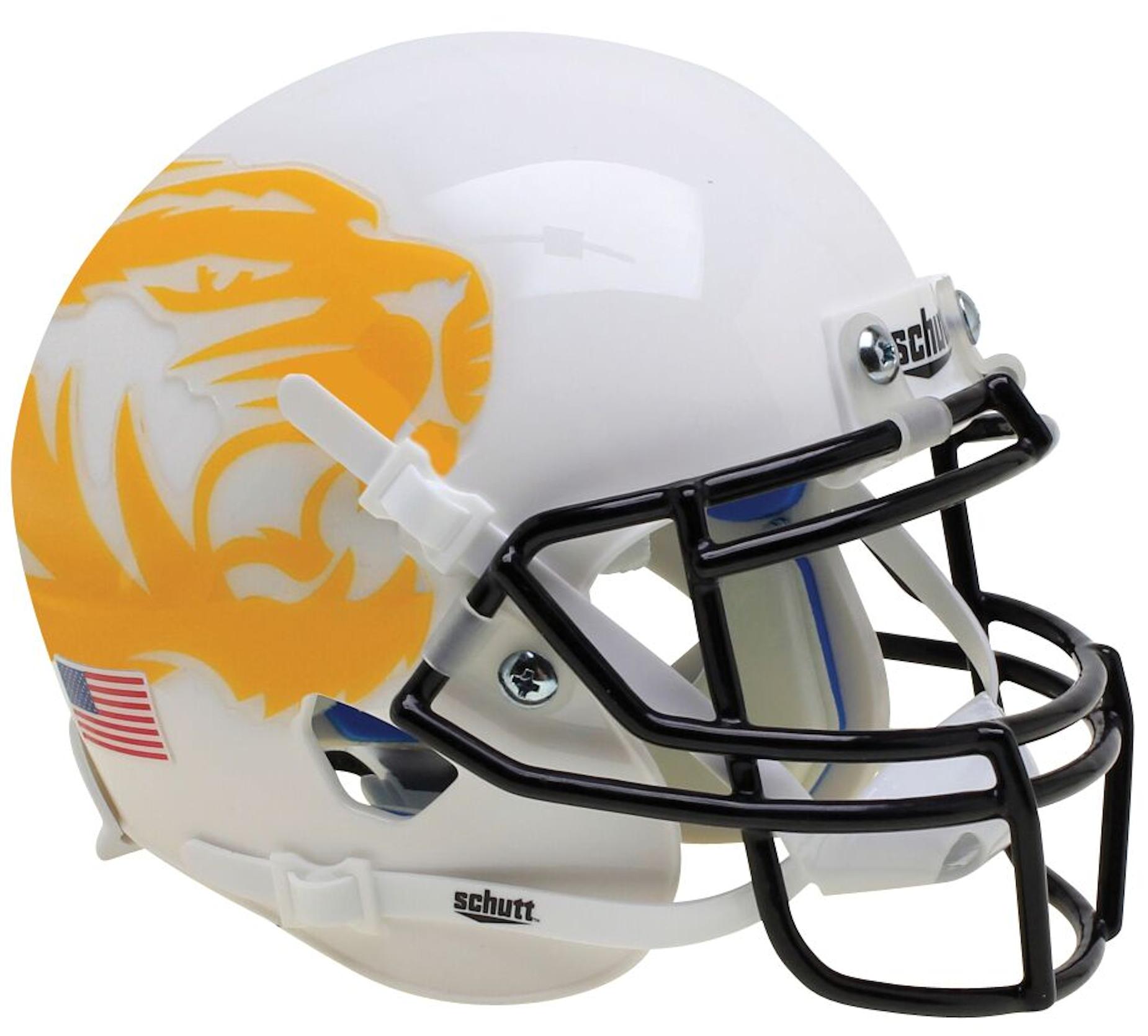 Missouri Tigers Full XP Replica Football Helmet Schutt <B>White Yellow Tiger</B>