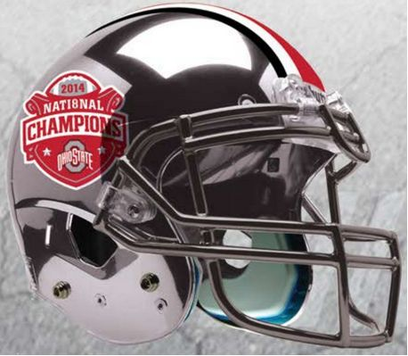Ohio State Buckeyes 2014 National Champions Replica Football Helmet Schutt <B>Silver Chrome</B>
