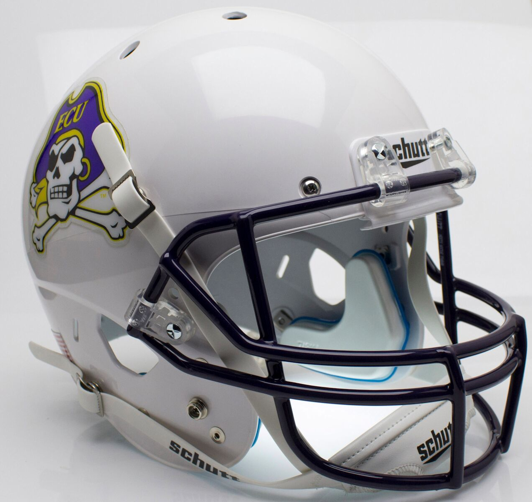 East Carolina Pirates Full XP Replica Football Helmet Schutt <B>White</B>