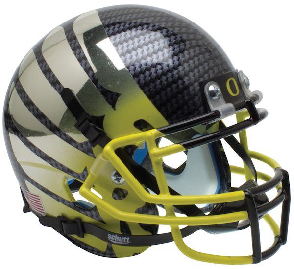 Oregon Ducks Mini XP Authentic Helmet Schutt <B>Smoke AquaTech Wing Yellow Mask</B>