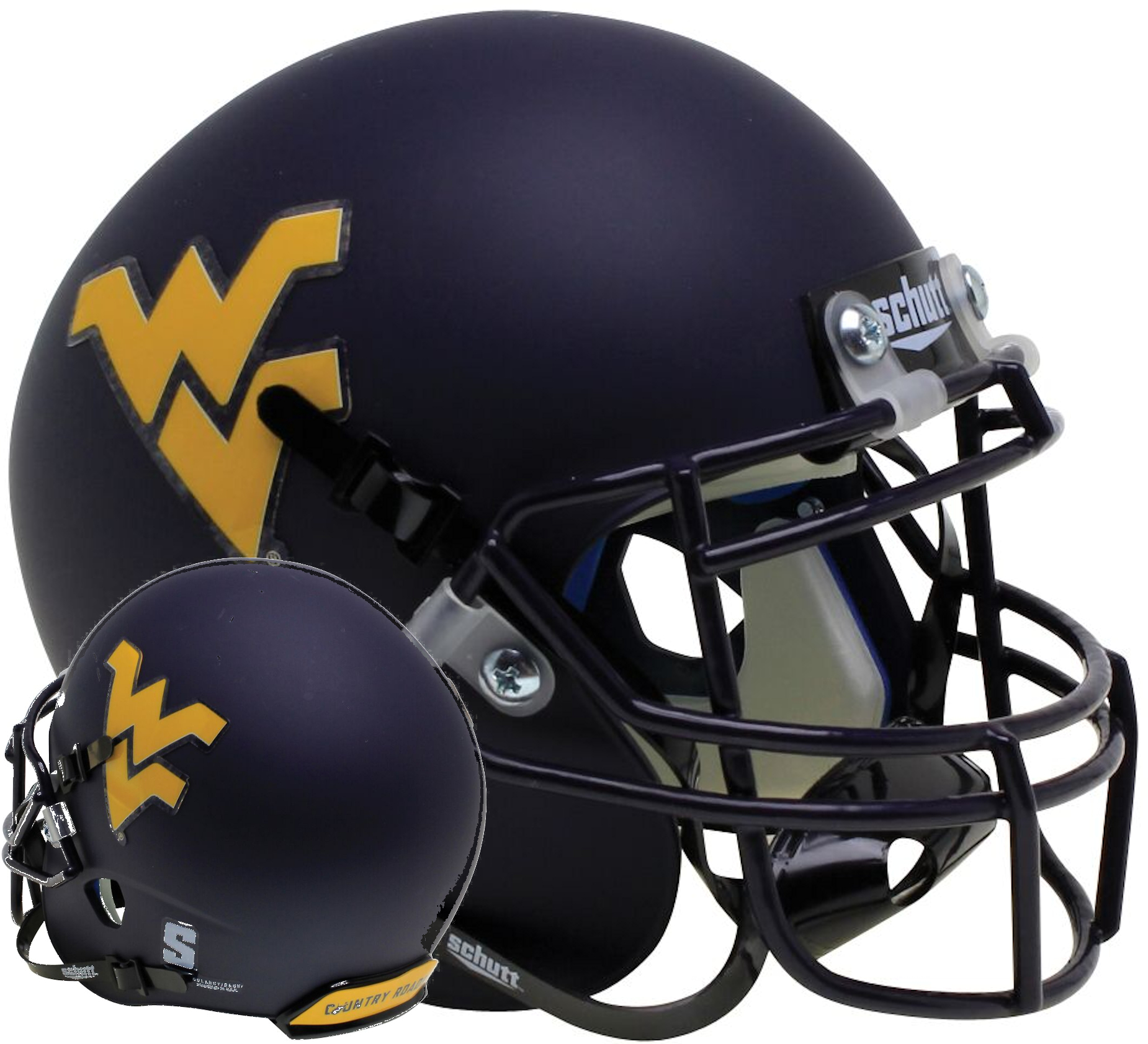 West Virginia Mountaineers Mini XP Authentic Helmet Schutt <B>Country Roads Bumper</B>