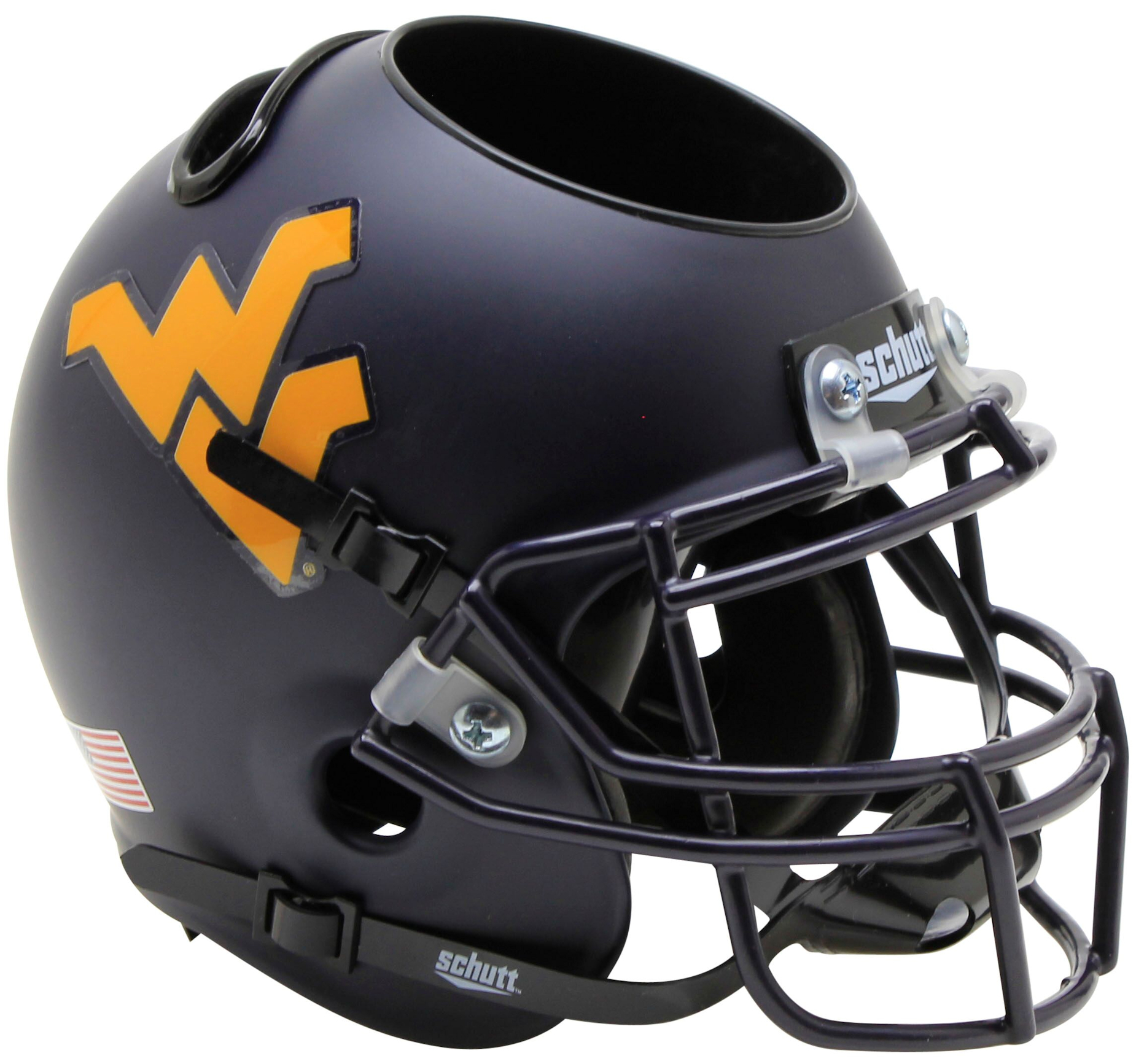 West Virginia Mountaineers Miniature Football Helmet Desk Caddy <B>Country Roads Bumper</B>