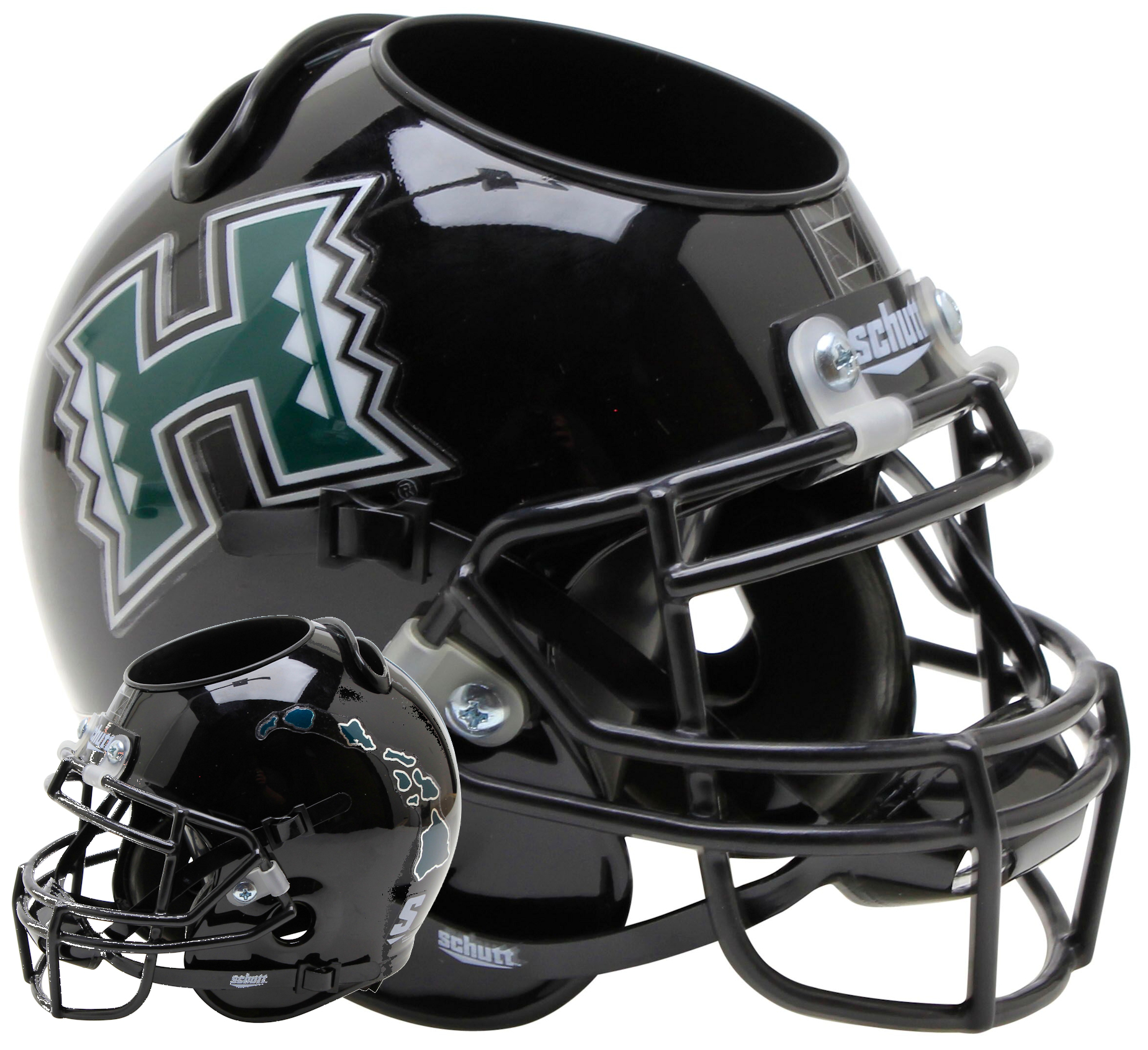 Hawaii Warriors Miniature Football Helmet Desk Caddy <B>Dark Green Islands</B>