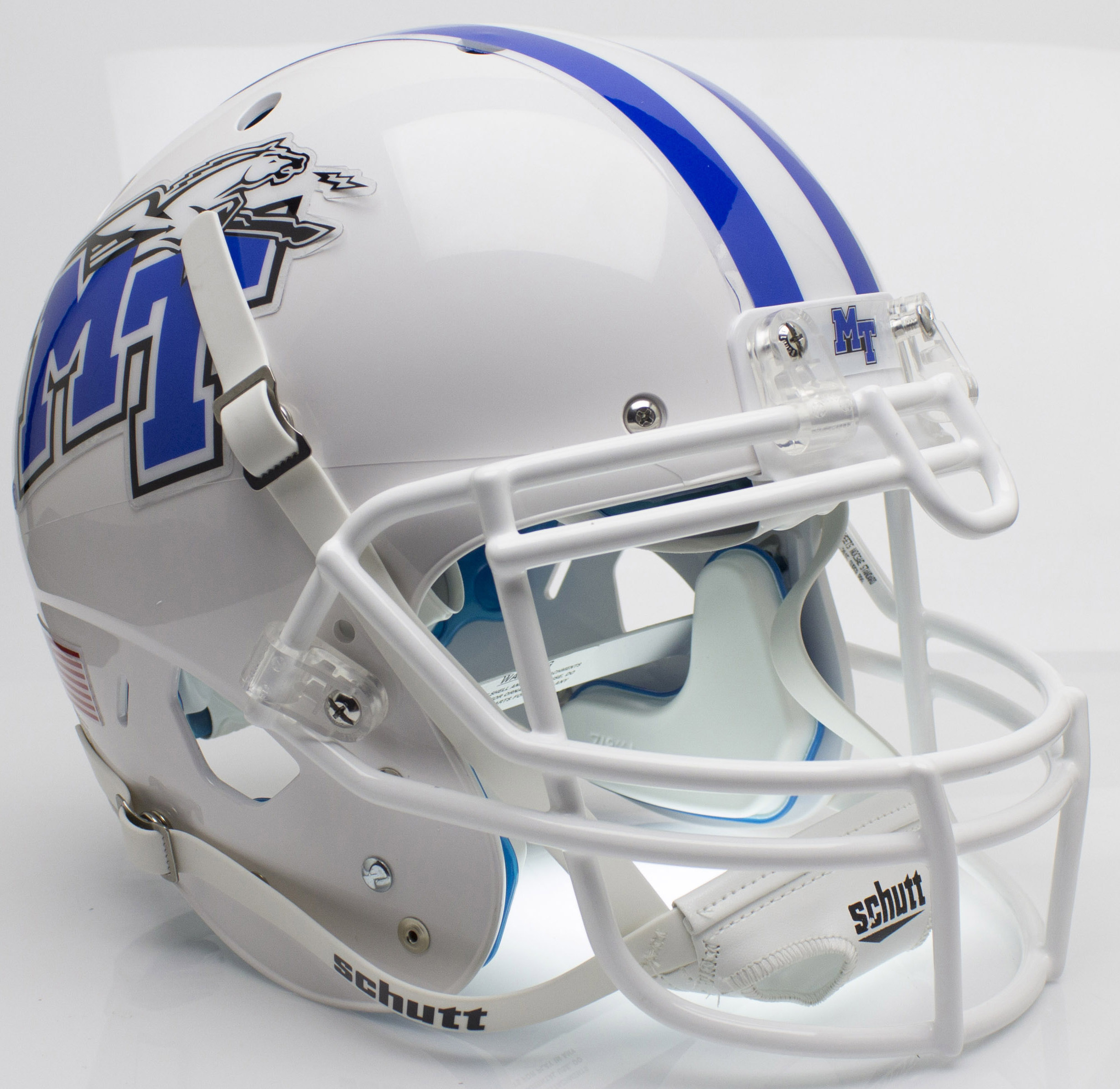 Middle Tennessee State Blue Raiders Authentic College XP Football Helmet Schutt <B>White with Chrome Decal</B>