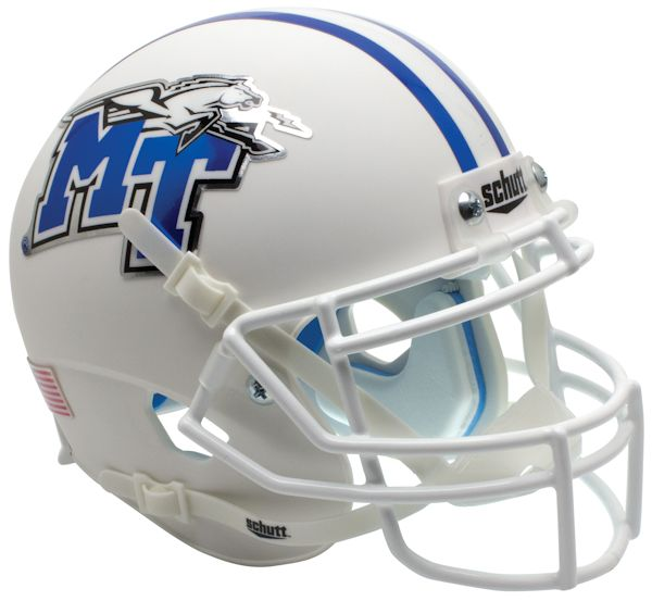 Middle Tenn St Blue Raiders Mini XP Authentic Helmet Schutt <B>White with Chrome Decal</B>