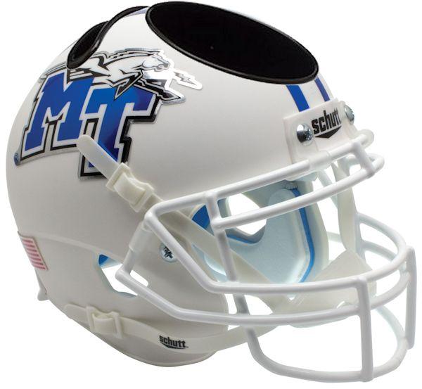 Middle Tenn St Blue Raiders Miniature Football Helmet Desk Caddy <B>White with Chrome Decal</B>