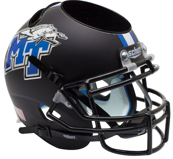 Middle Tenn St Blue Raiders Miniature Football Helmet Desk Caddy <B>Matte Black</B>