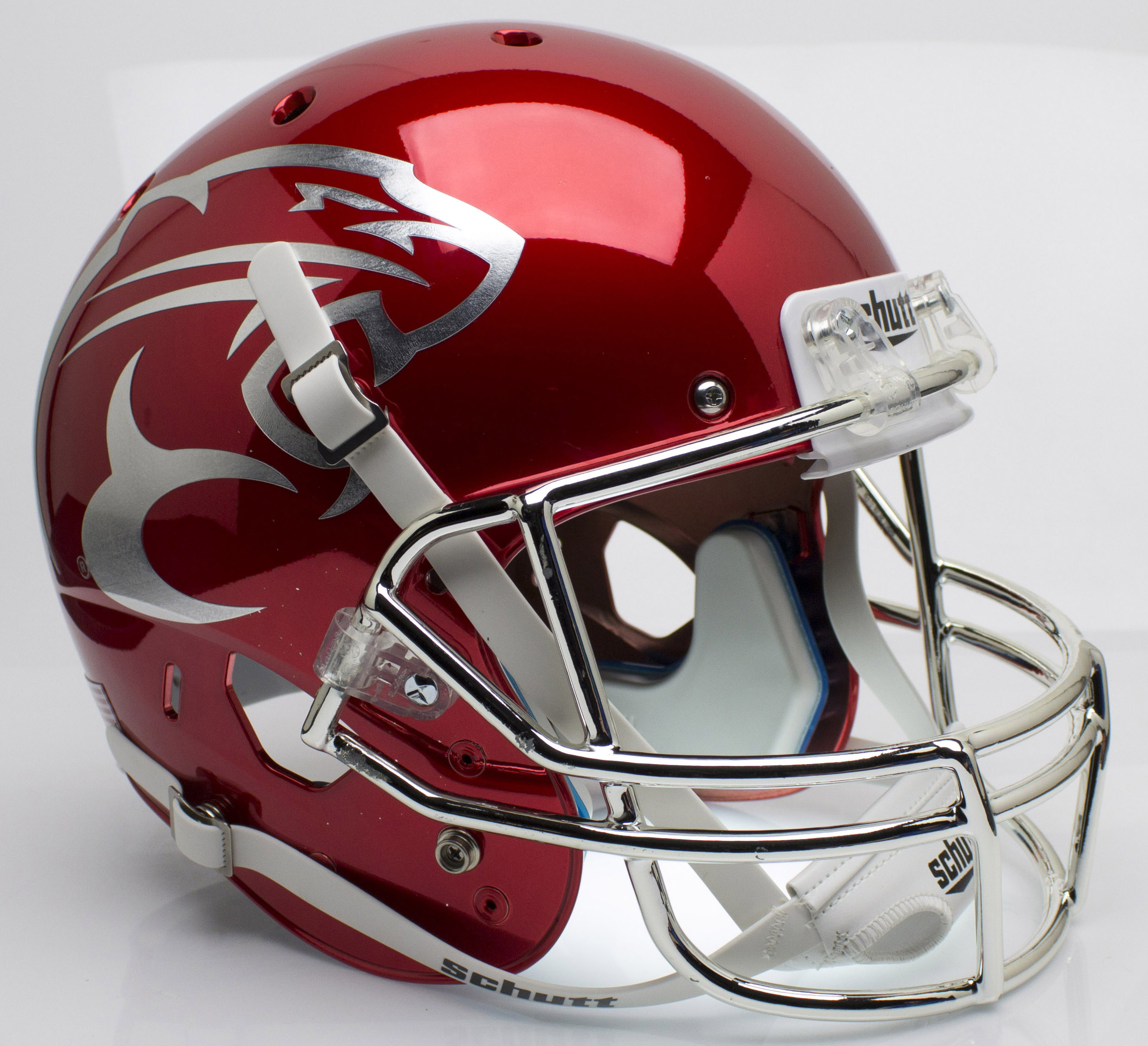Houston Cougars Full XP Replica Football Helmet Schutt <B>Chrome</B>