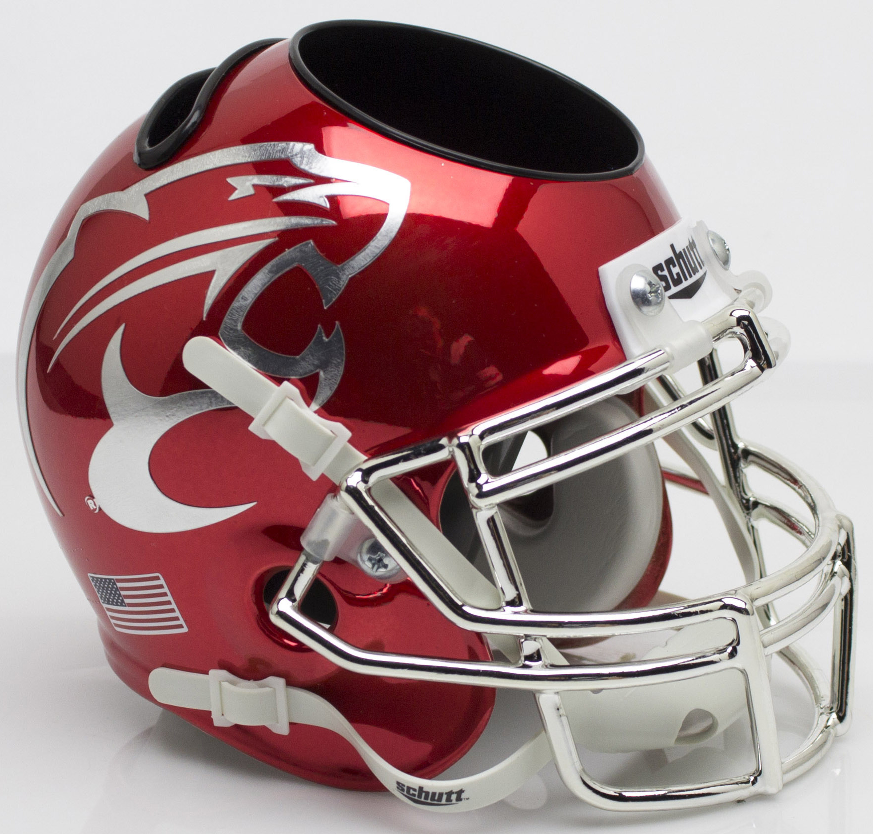 Houston Cougars Mini Football Helmet Desk Caddy <B>Chrome</B>