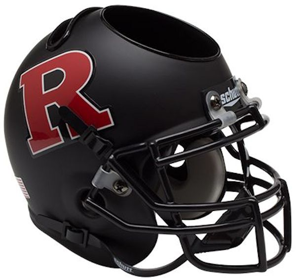Rutgers Scarlet Knights Miniature Football Helmet Desk Caddy <B>Matte Black Red R</B>