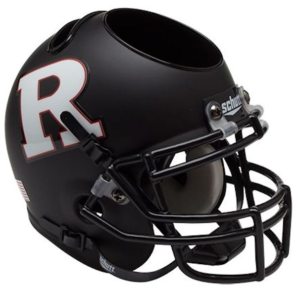 Rutgers Scarlet Knights Miniature Football Helmet Desk Caddy <B>Matte Black White R</B>