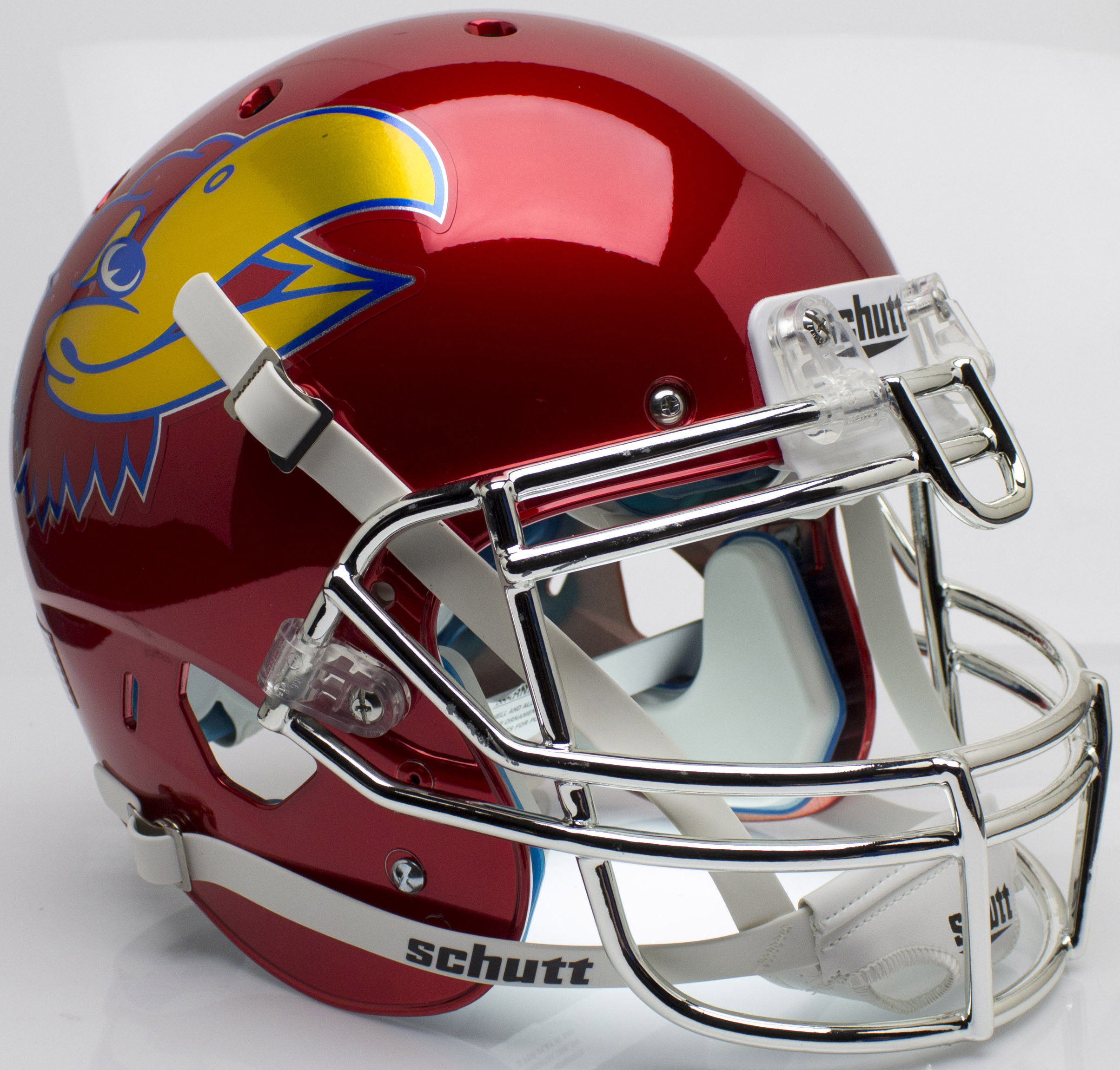 Kansas Jayhawks Authentic College XP Football Helmet Schutt <B>Scarlet Red Large Decal</B>