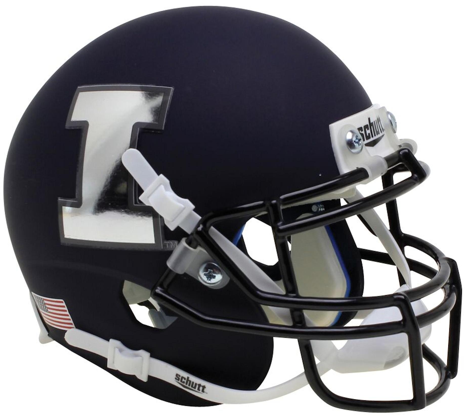 Illinois Fighting Illini Full XP Replica Football Helmet Schutt <B>Matte Black</B>
