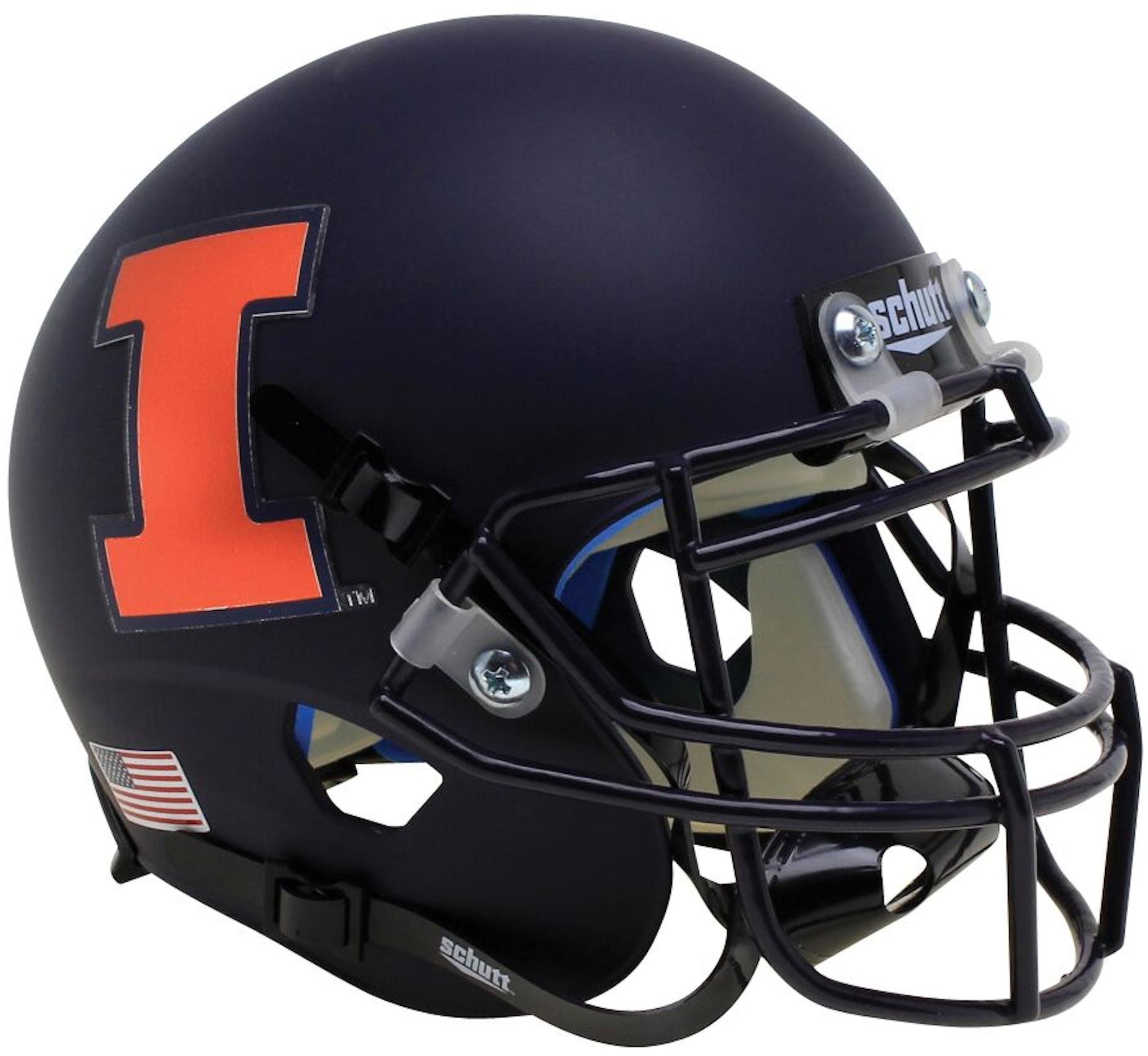 Illinois Fighting Illini Full XP Replica Football Helmet Schutt <B>Matte Black Orange I</B>