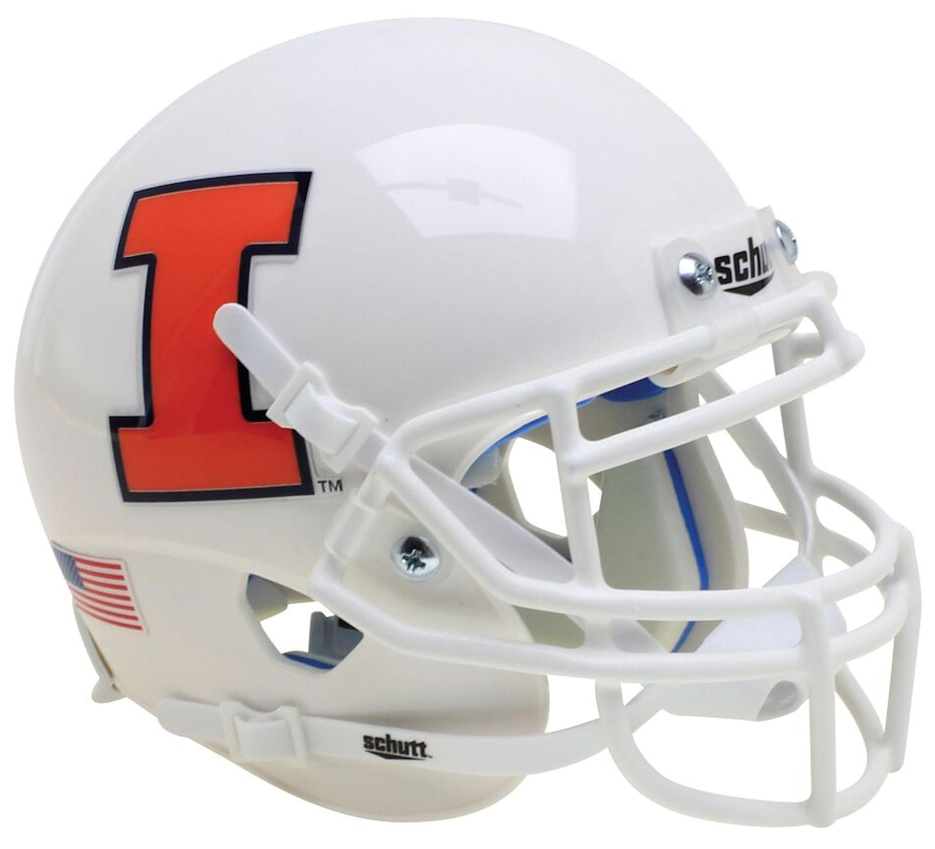 Illinois Fighting Illini Full XP Replica Football Helmet Schutt <B>White</B>