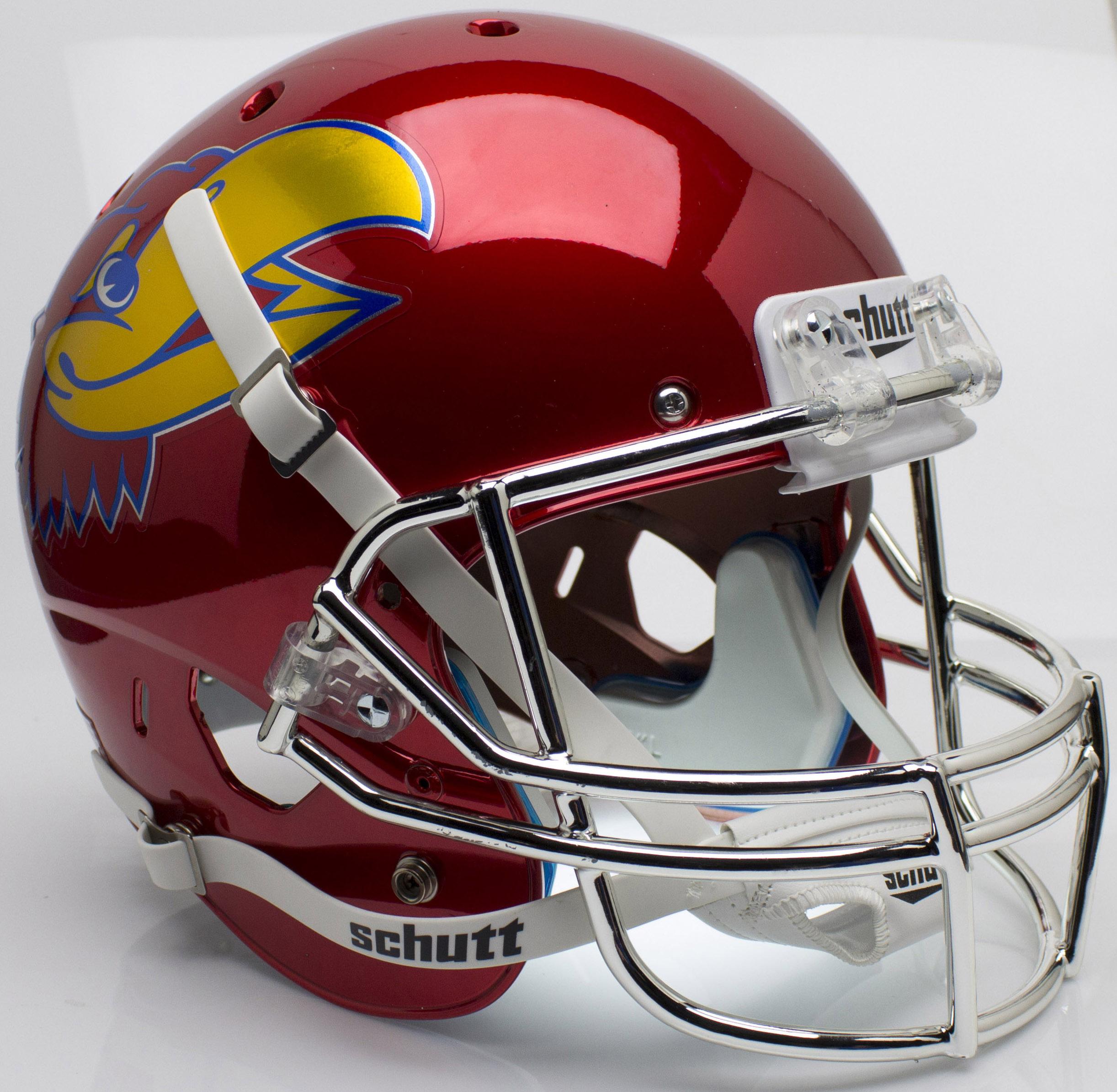 Kansas Jayhawks Full XP Replica Football Helmet Schutt <B>Scarlet Red Large Decal</B>