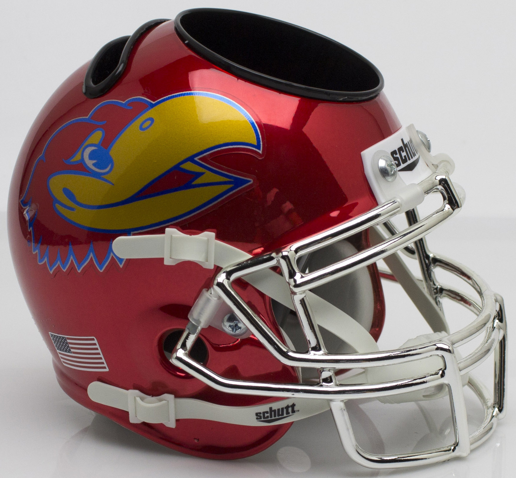 Kansas Jayhawks Miniature Football Helmet Desk Caddy <B>Scarlet Red Large Decal</B>