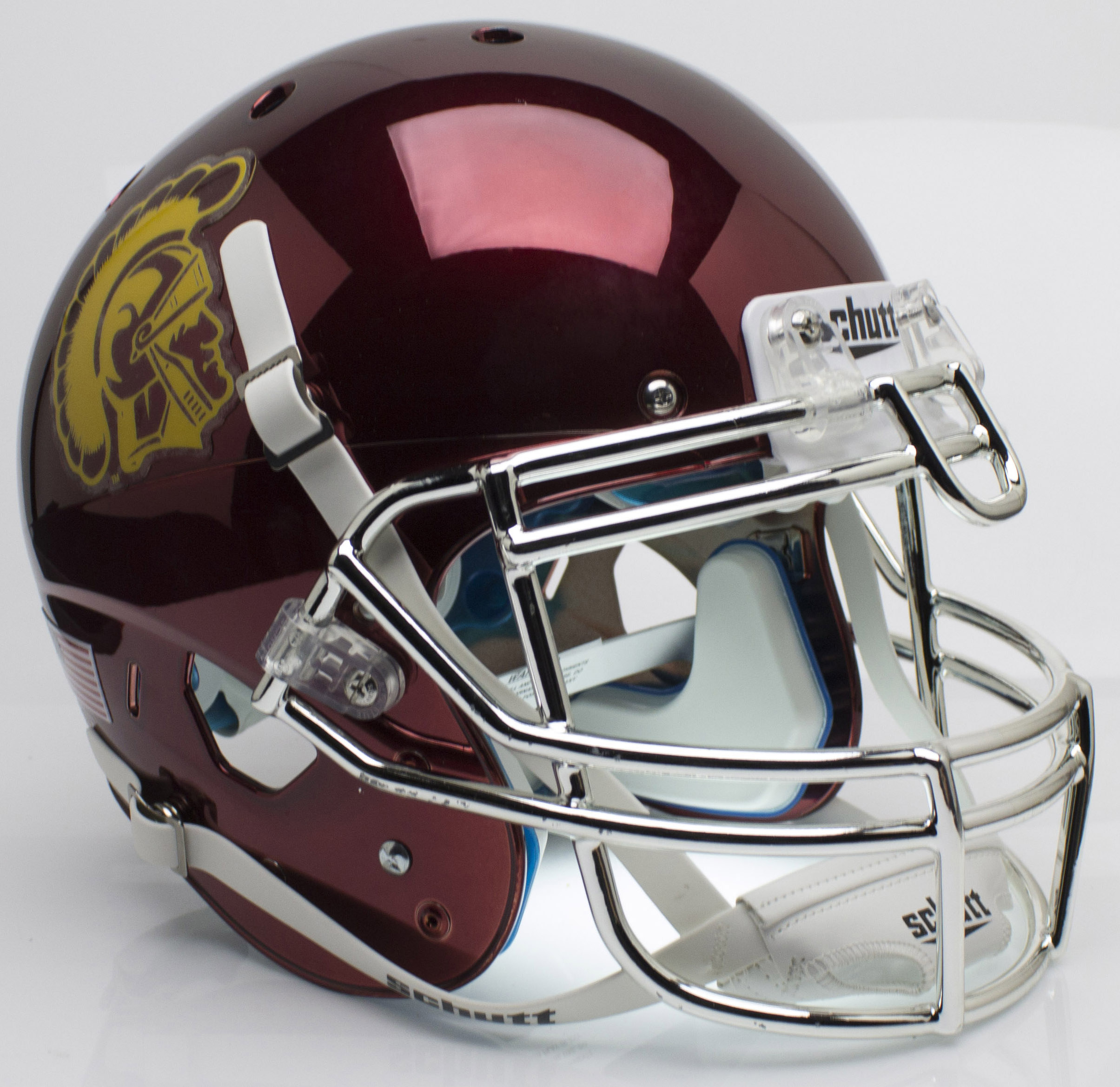 USC Trojans Authentic College XP Football Helmet Schutt <B>Chrome</B>