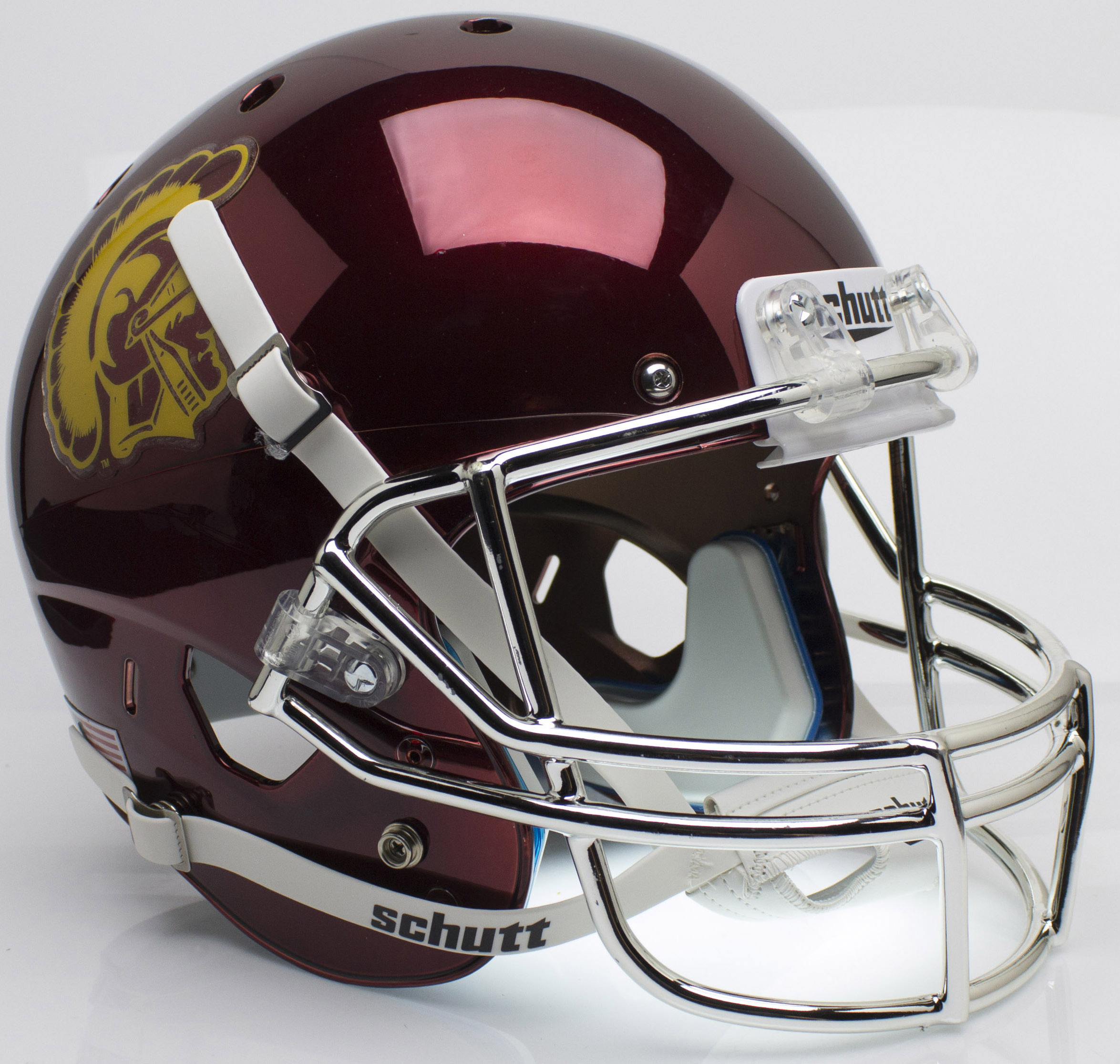 USC Trojans Full XP Replica Football Helmet Schutt <B>Chrome</B>