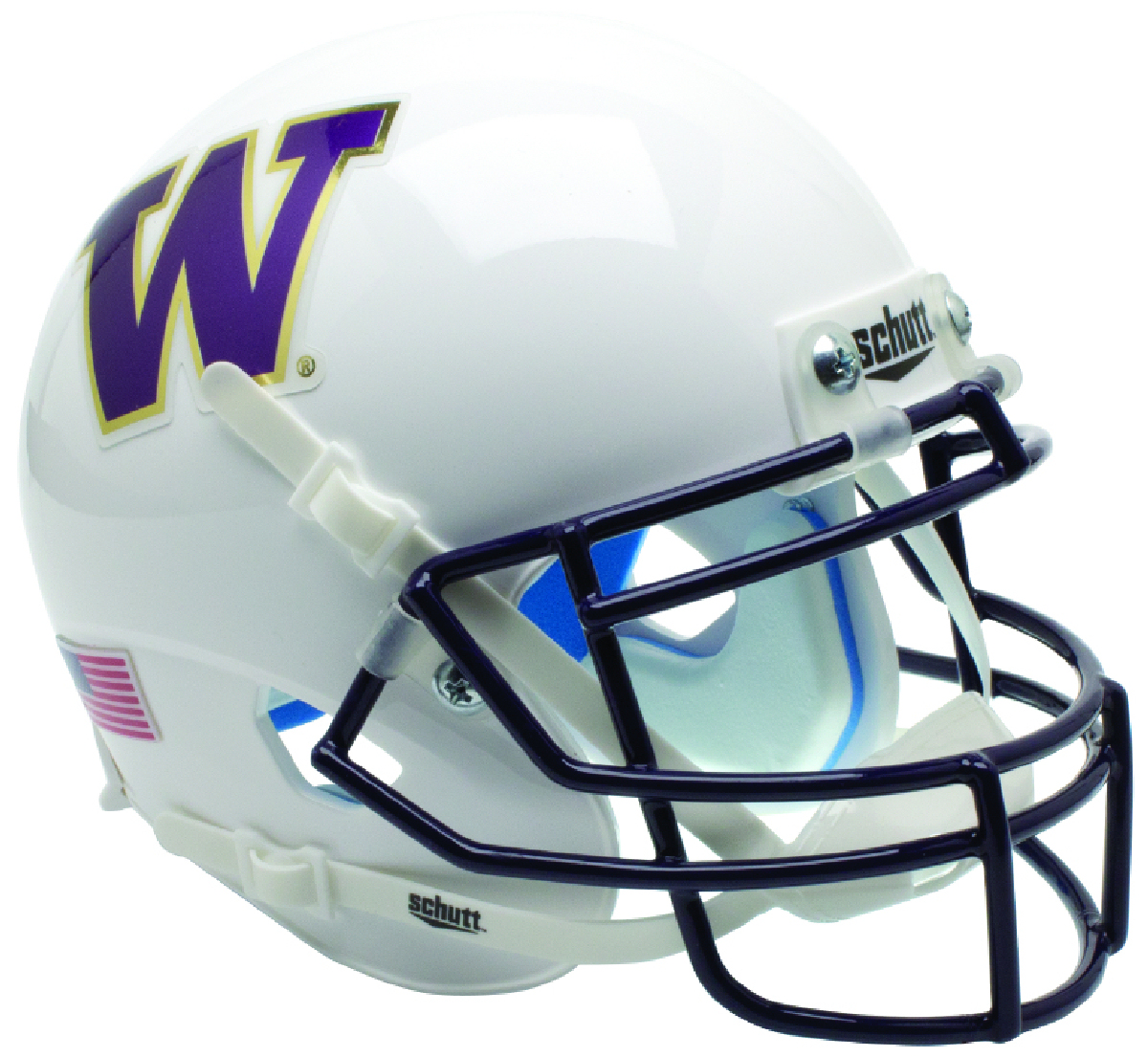 Washington Huskies Mini XP Authentic Helmet Schutt <B>Matte White</B>