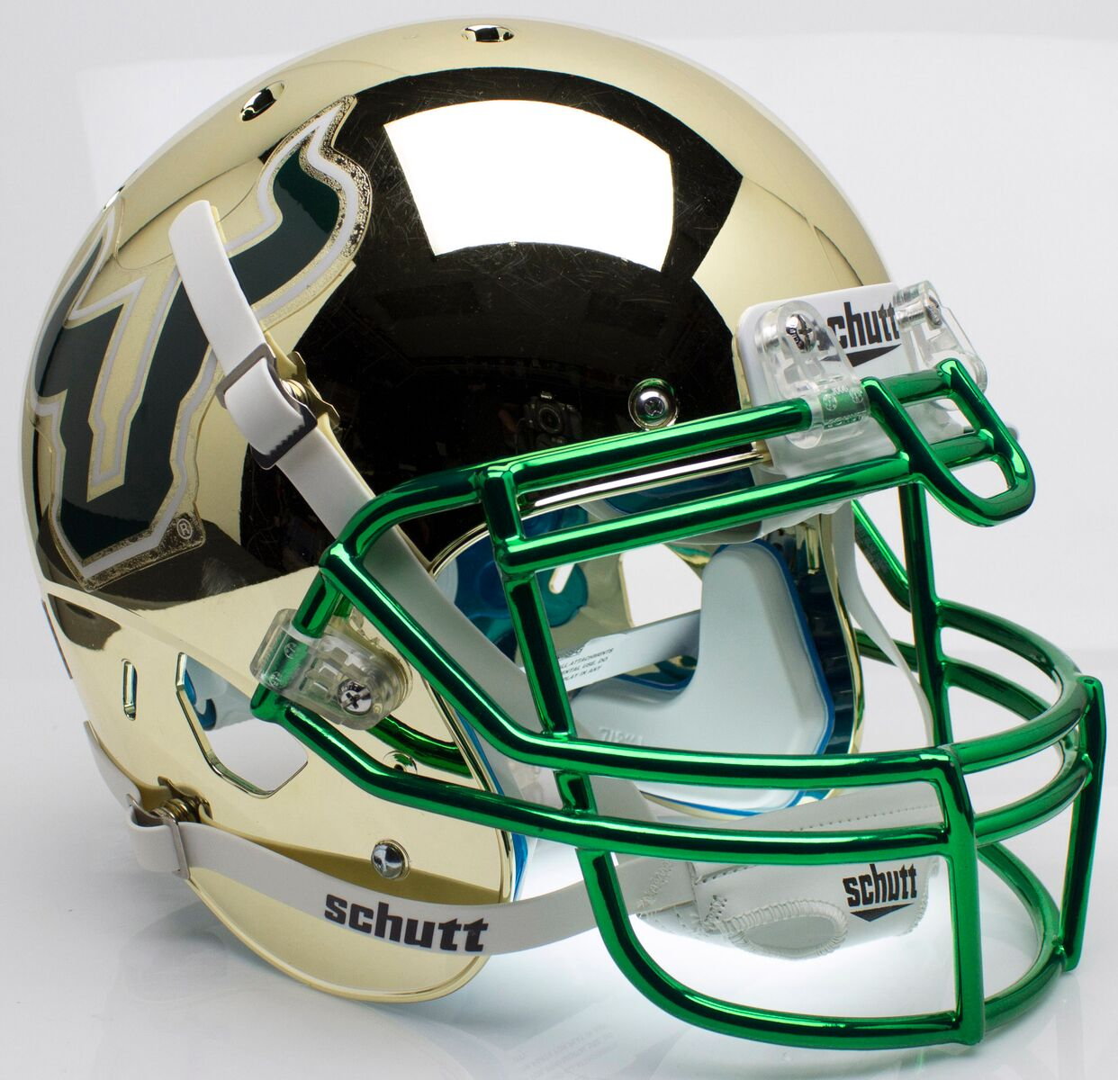South Florida Bulls Authentic College XP Football Helmet Schutt <B>Chrome</B>