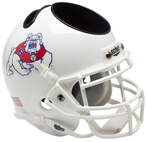 Fresno State Bulldogs Mini Football Helmet Desk Caddy <B>White</B>