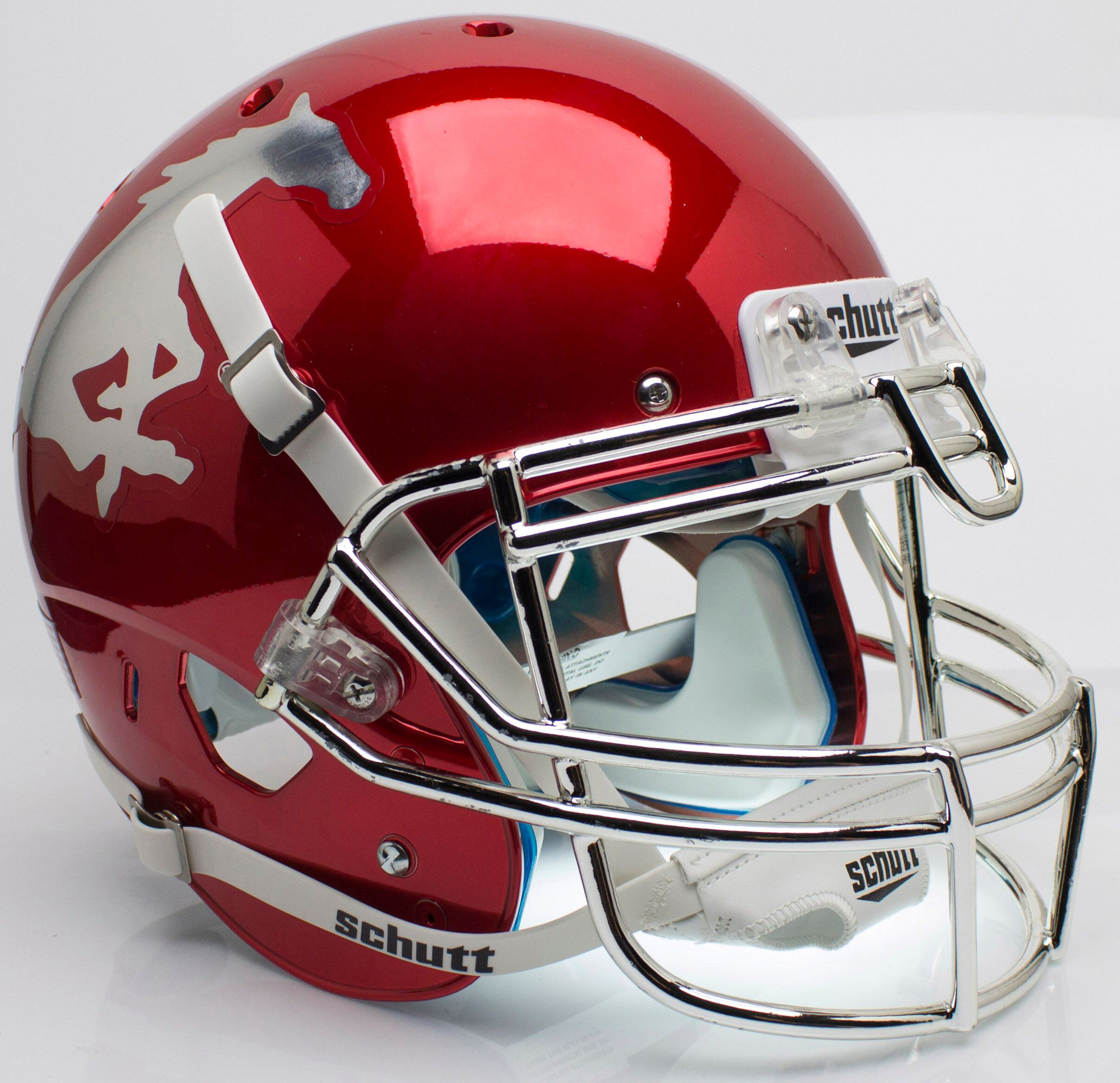 Southern Methodist (SMU) Mustangs Authentic College XP Football Helmet Schutt <B>Red Chrome With Chrome Mask</B>