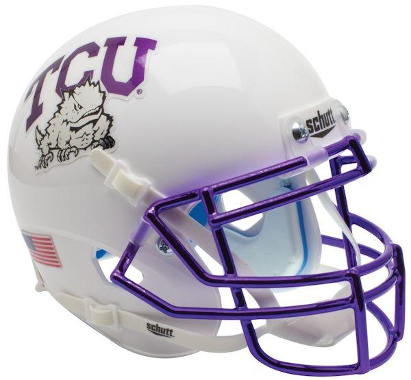 TCU Horned Frogs Authentic College XP Football Helmet Schutt <B>Chrome Mask</B>