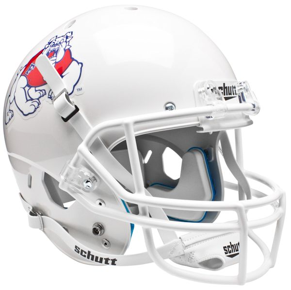 Fresno State Bulldogs Full XP Replica Football Helmet Schutt <B>White</B>