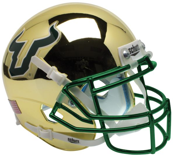 South Florida Bulls Full XP Replica Football Helmet Schutt <B>Chrome</B>