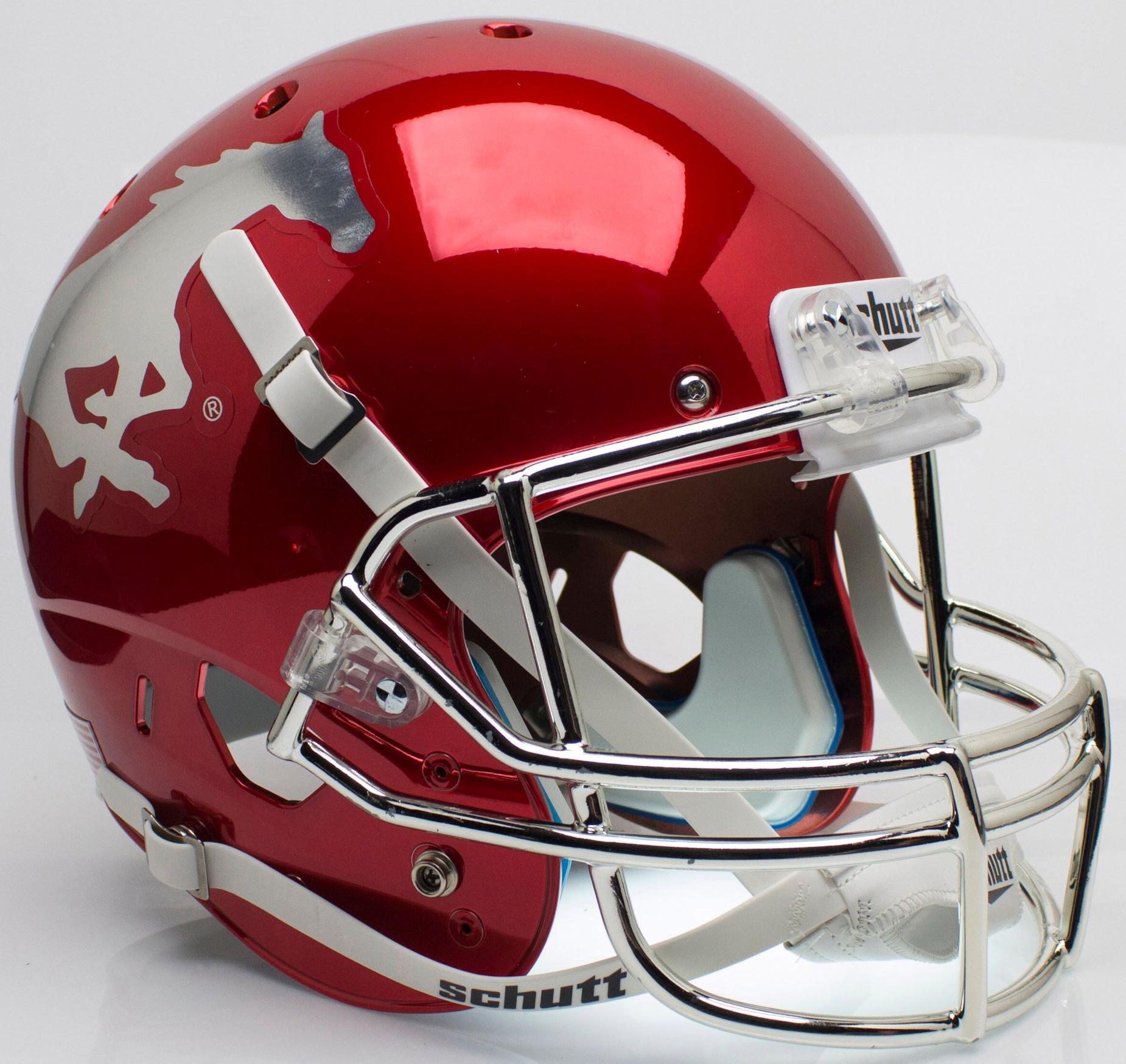 Southern Methodist (SMU) Mustangs Full XP Replica Football Helmet Schutt <B>Red Chrome With Chrome Mask</B>