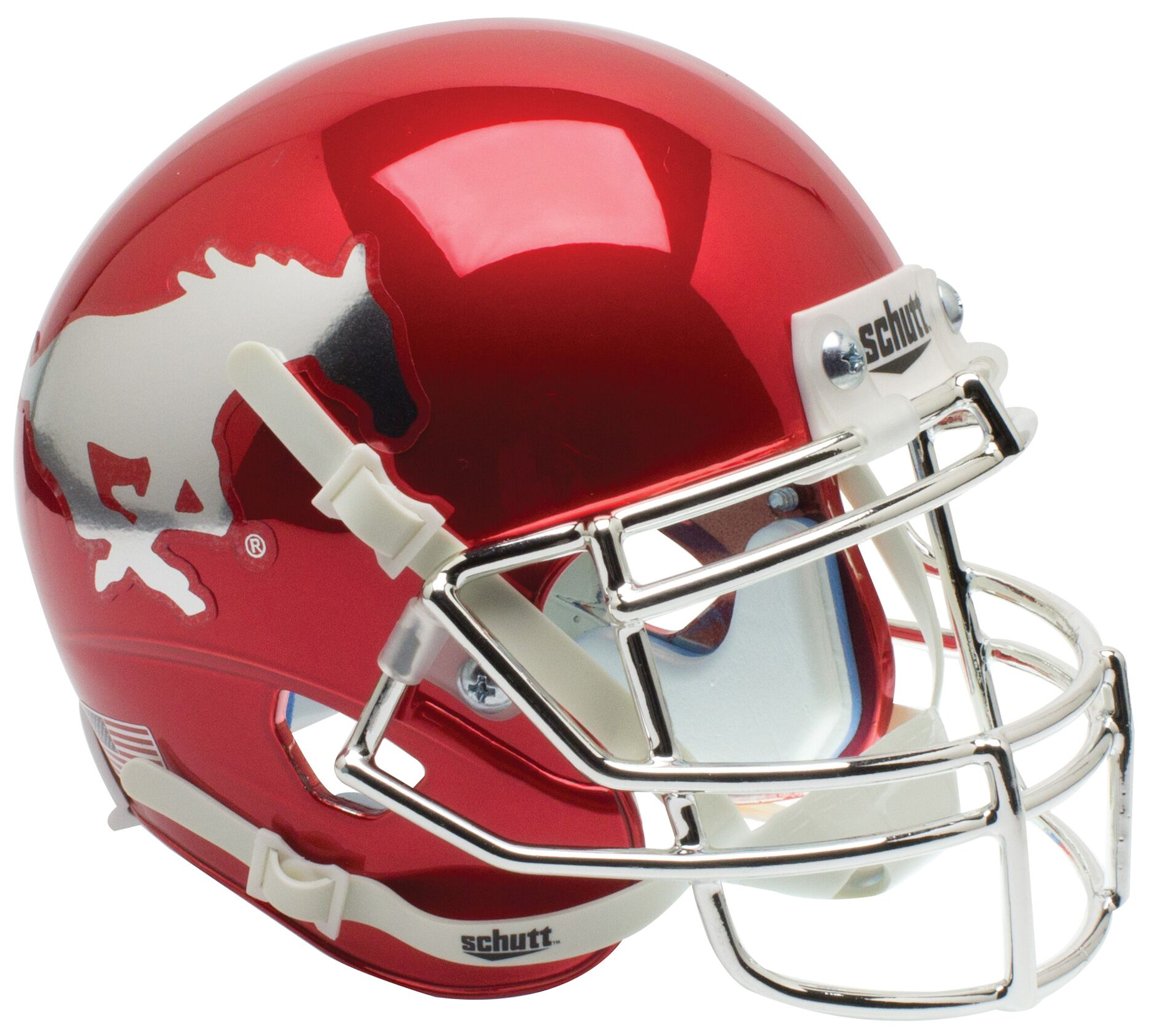 Southern Methodist (SMU) Mustangs Mini XP Authentic Helmet Schutt <B>Red Chrome With Chrome Mask</B>