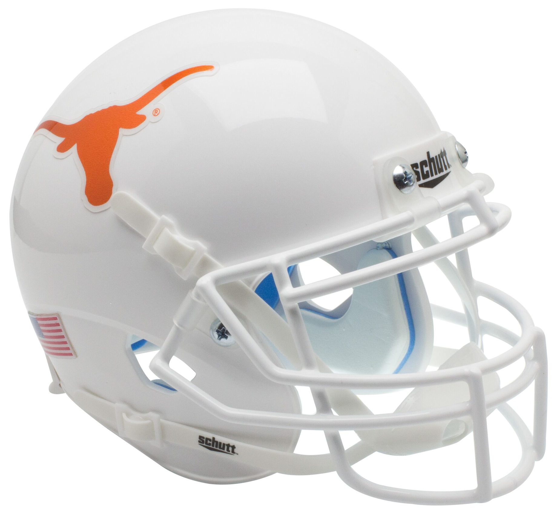 Texas Longhorns Mini XP Authentic Helmet Schutt <B>Chrome Decal</B>