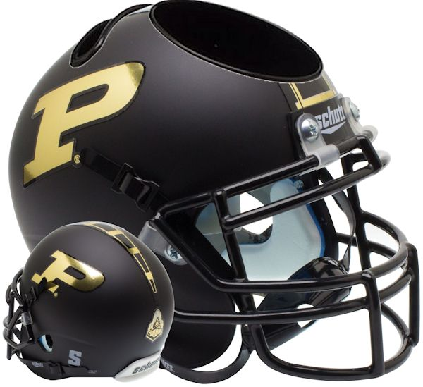 Purdue Boilermakers Miniature Football Helmet Desk Caddy <B>Matte Black</B>