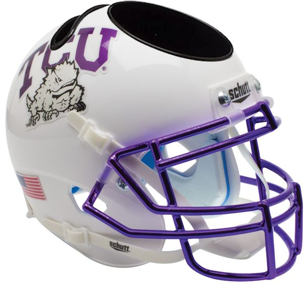 TCU Horned Frogs Miniature Football Helmet Desk Caddy <B>Chrome Mask</B>