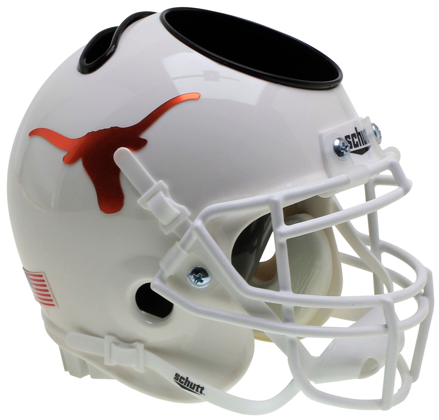Texas Longhorns Miniature Football Helmet Desk Caddy <B>Chrome Decal</B>