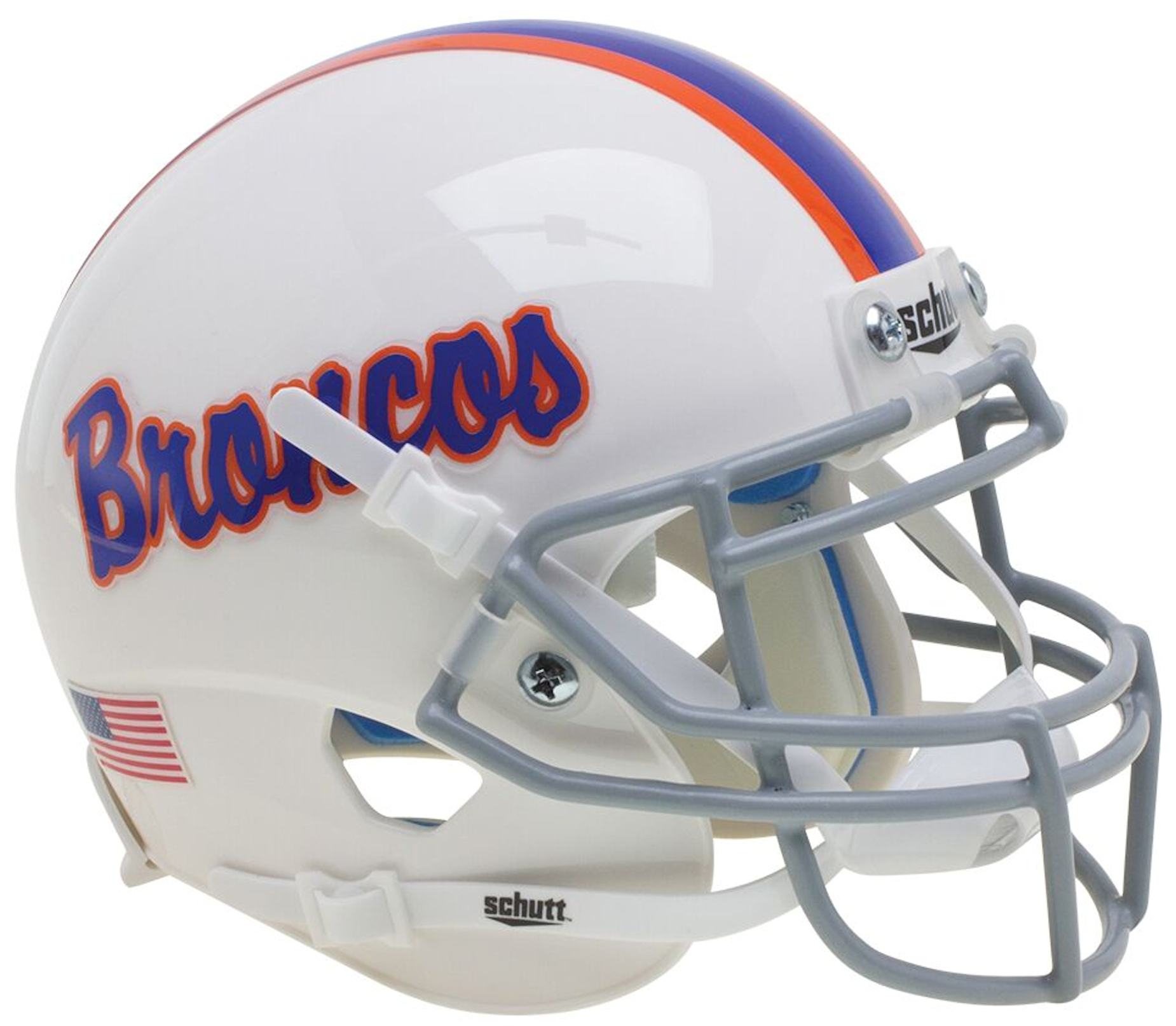 Boise State Broncos Authentic College XP Football Helmet Schutt <B>White With Pinstripe</B>