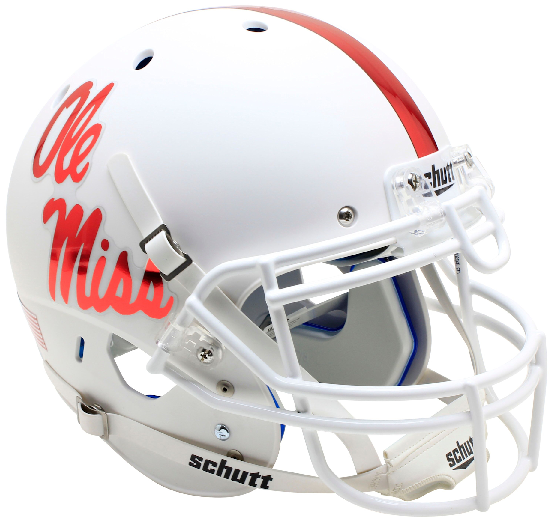 Mississippi (Ole Miss) Rebels Authentic College XP Football Helmet Schutt <B>White With Red Decal</B>