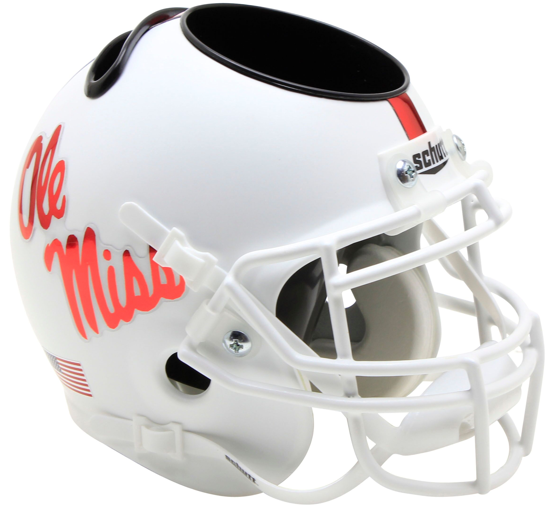 Mississippi (Ole Miss) Rebels Miniature Football Helmet Desk Caddy <B>White With Red Decal</B>