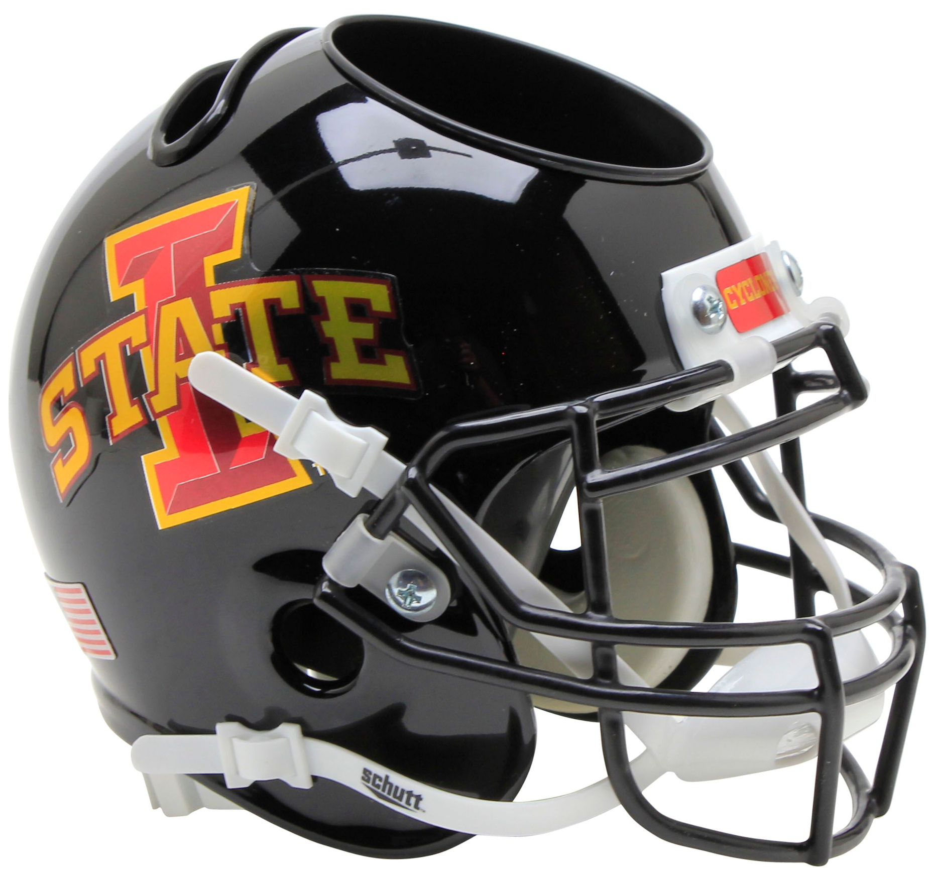 Iowa State Cyclones Miniature Football Helmet Desk Caddy <B>Black with Red Decal</B>