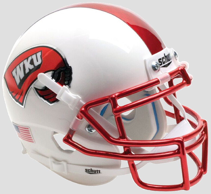 Western Kentucky Hilltoppers Mini XP Authentic Helmet Schutt <B>White with Chrome Mask</B>