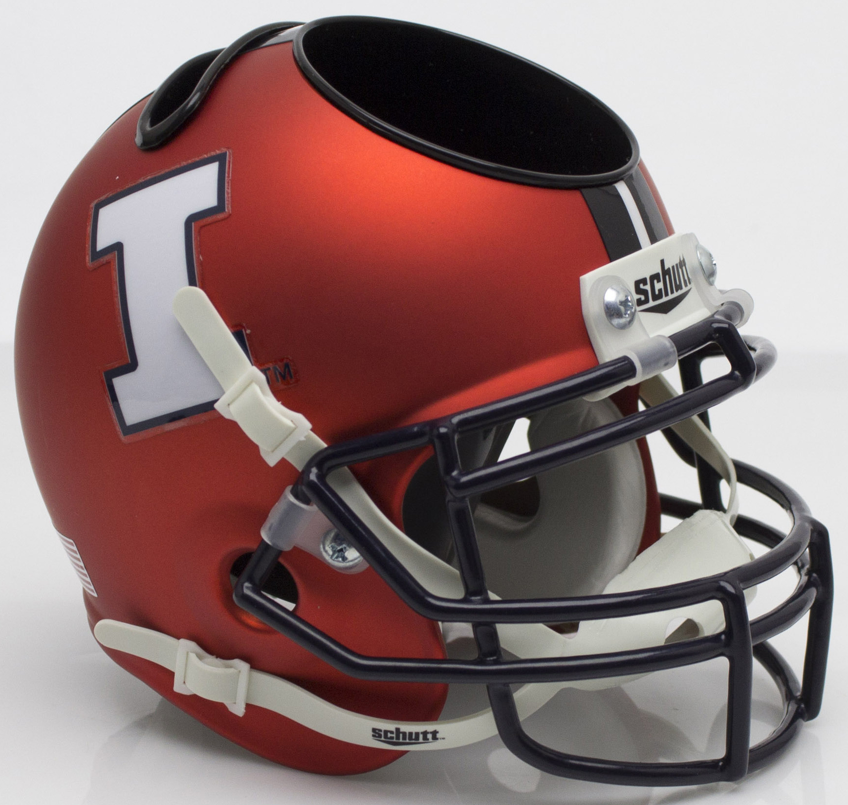Illinois Fighting Illini Miniature Football Helmet Desk Caddy <B>Matte Orange</B>
