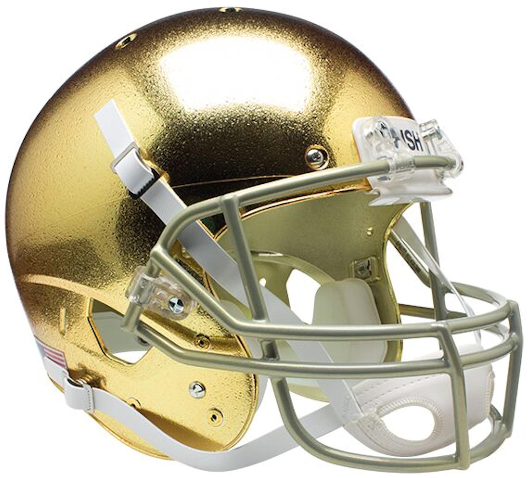 Notre Dame Fighting Irish Full XP Replica Football Helmet Schutt <B>Textured with Metallic Mask</B>