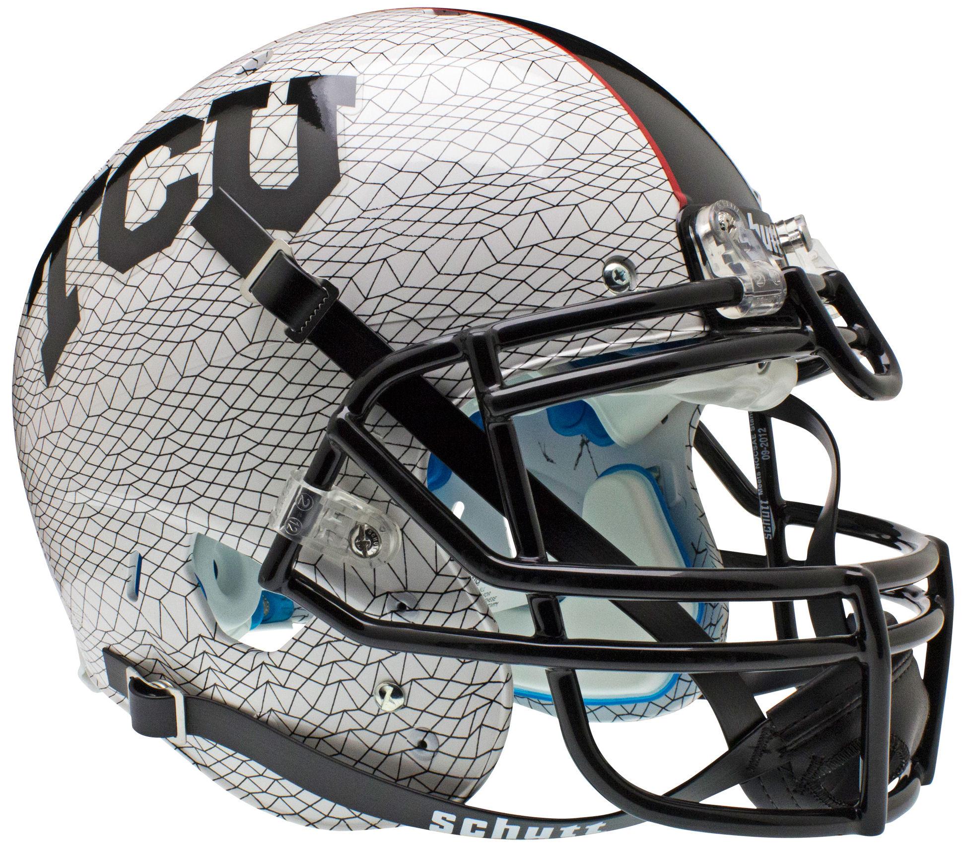 TCU Horned Frogs Authentic College XP Football Helmet Schutt <B>White Crosshatch</B>