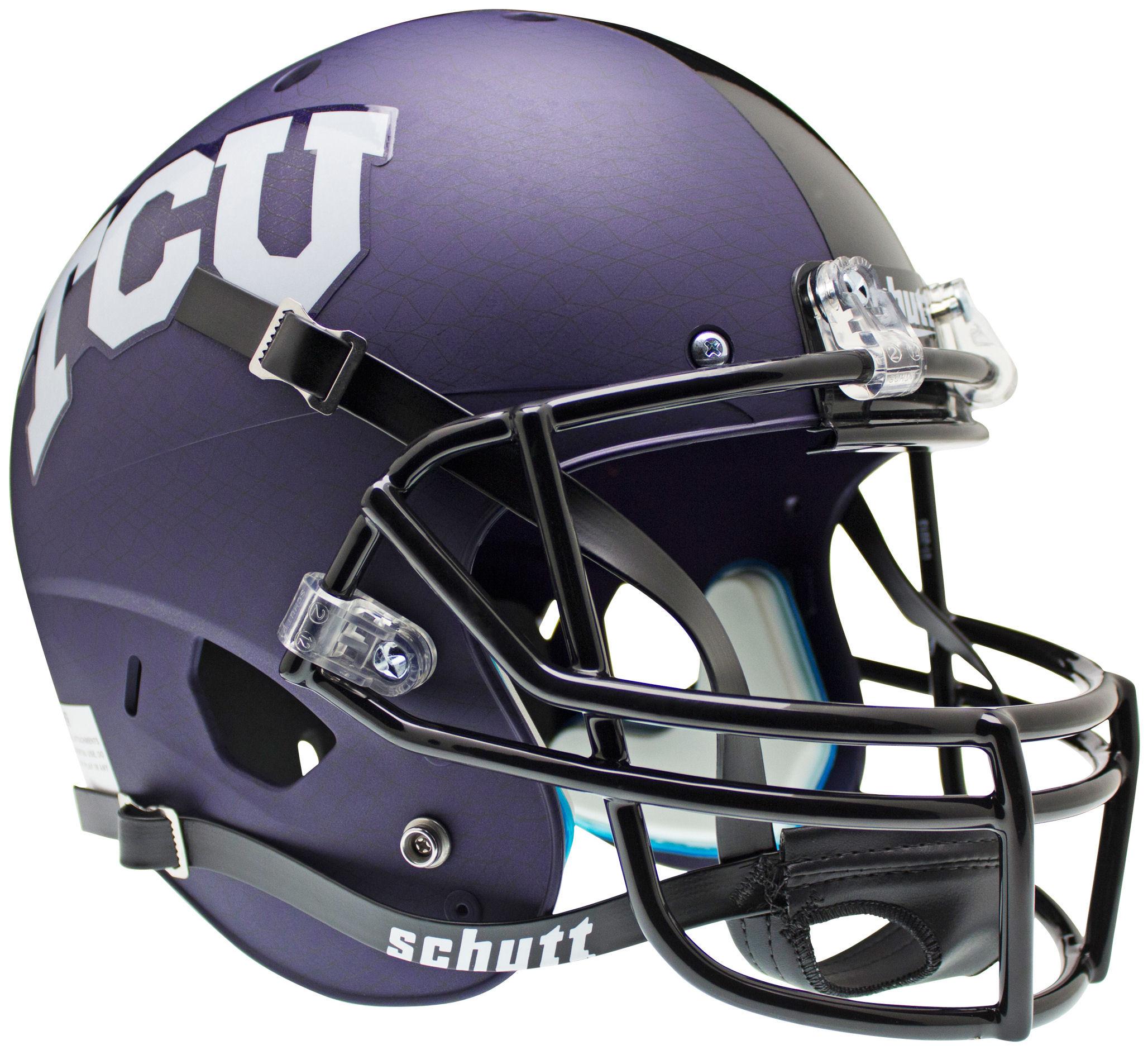 TCU Horned Frogs Full XP Replica Football Helmet Schutt <B>Purple Crosshatch</B>