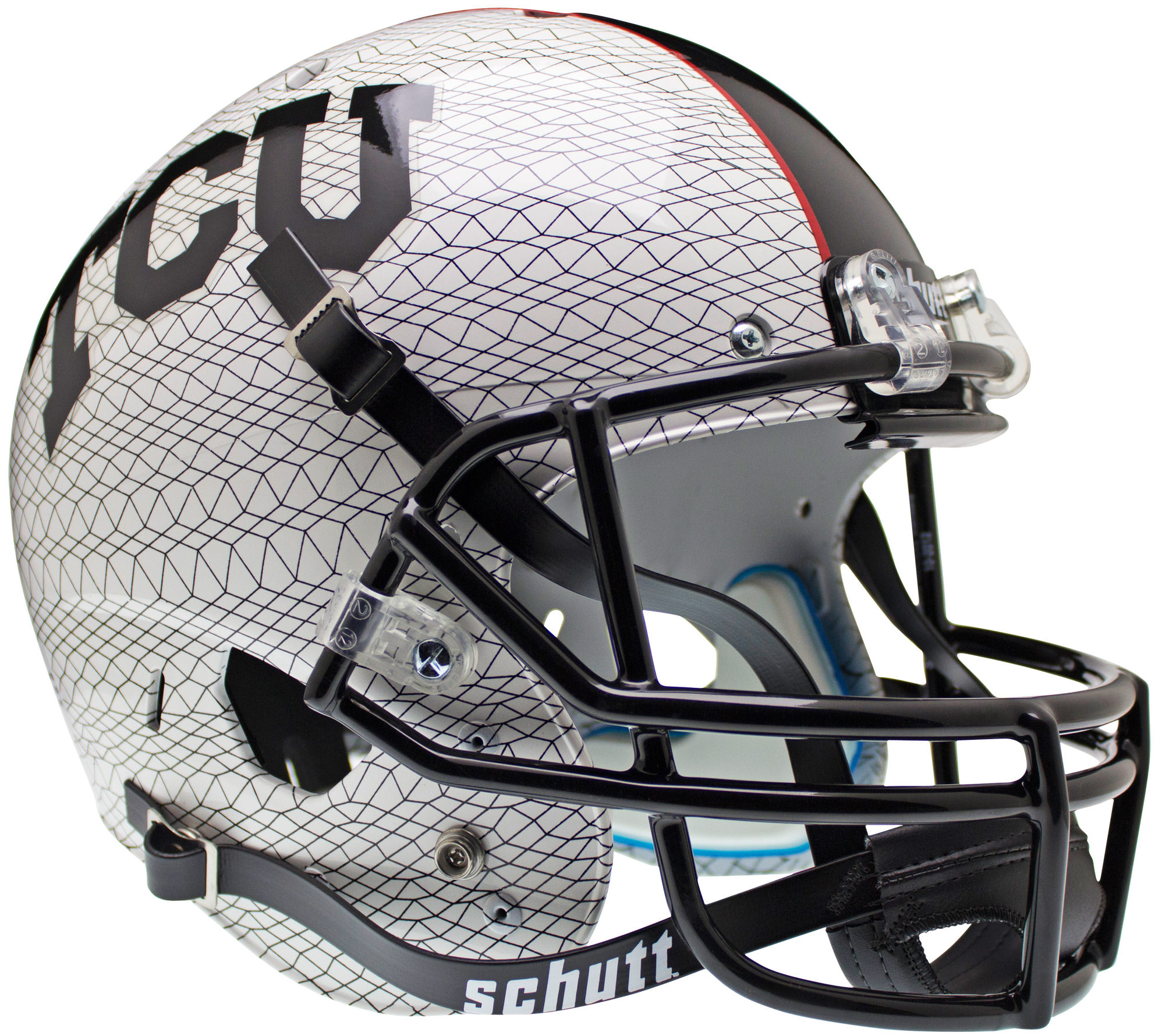 TCU Horned Frogs Full XP Replica Football Helmet Schutt <B>White Crosshatch</B>
