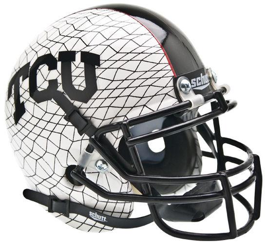TCU Horned Frogs Mini Authentic Helmet Schutt <B>White Crosshatch</B>