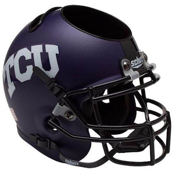 TCU Horned Frogs Miniature Football Helmet Desk Caddy <B>Matte</B>